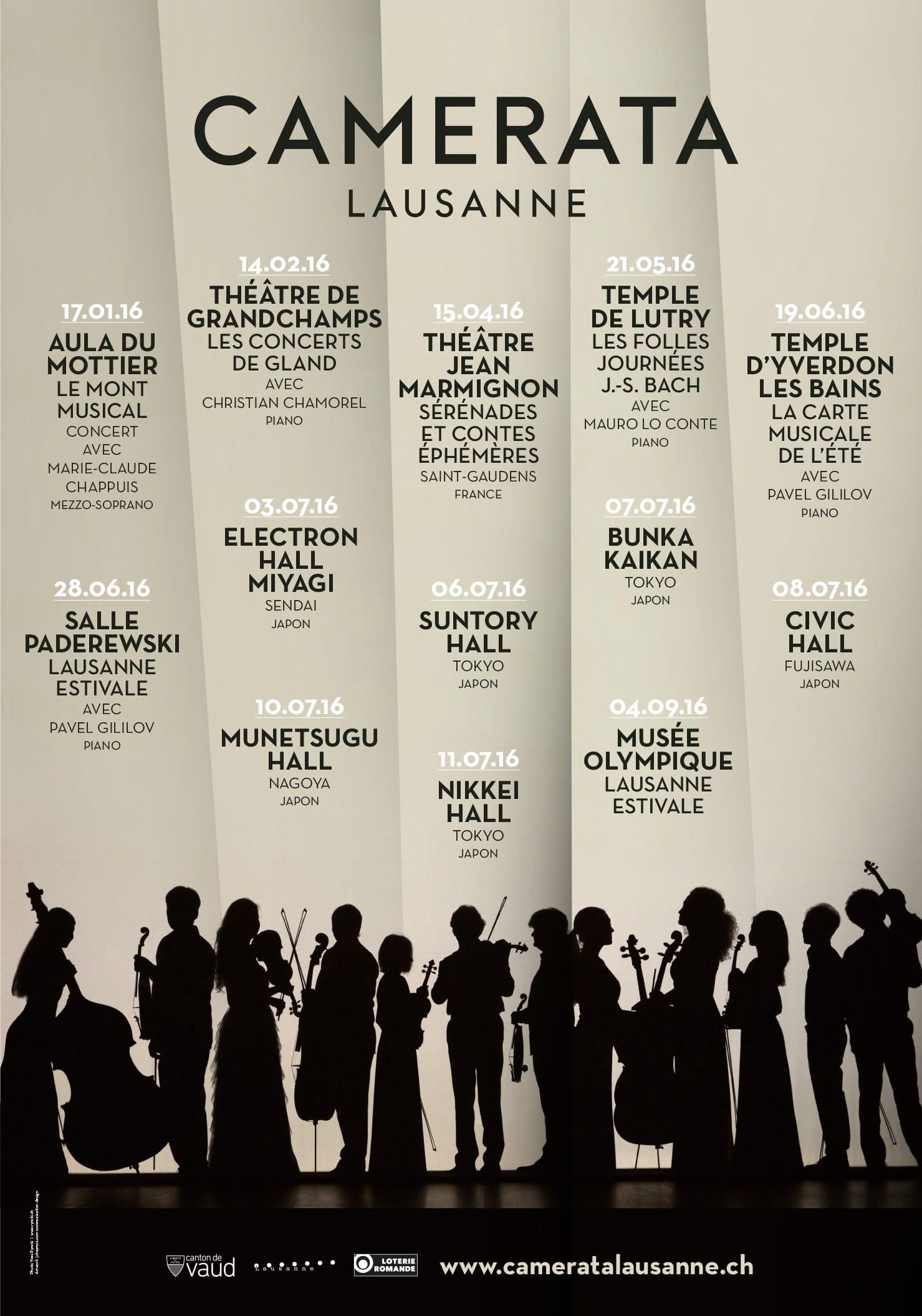 Camerata Lausanne Ensemble à cordes Affiche Saison 2016