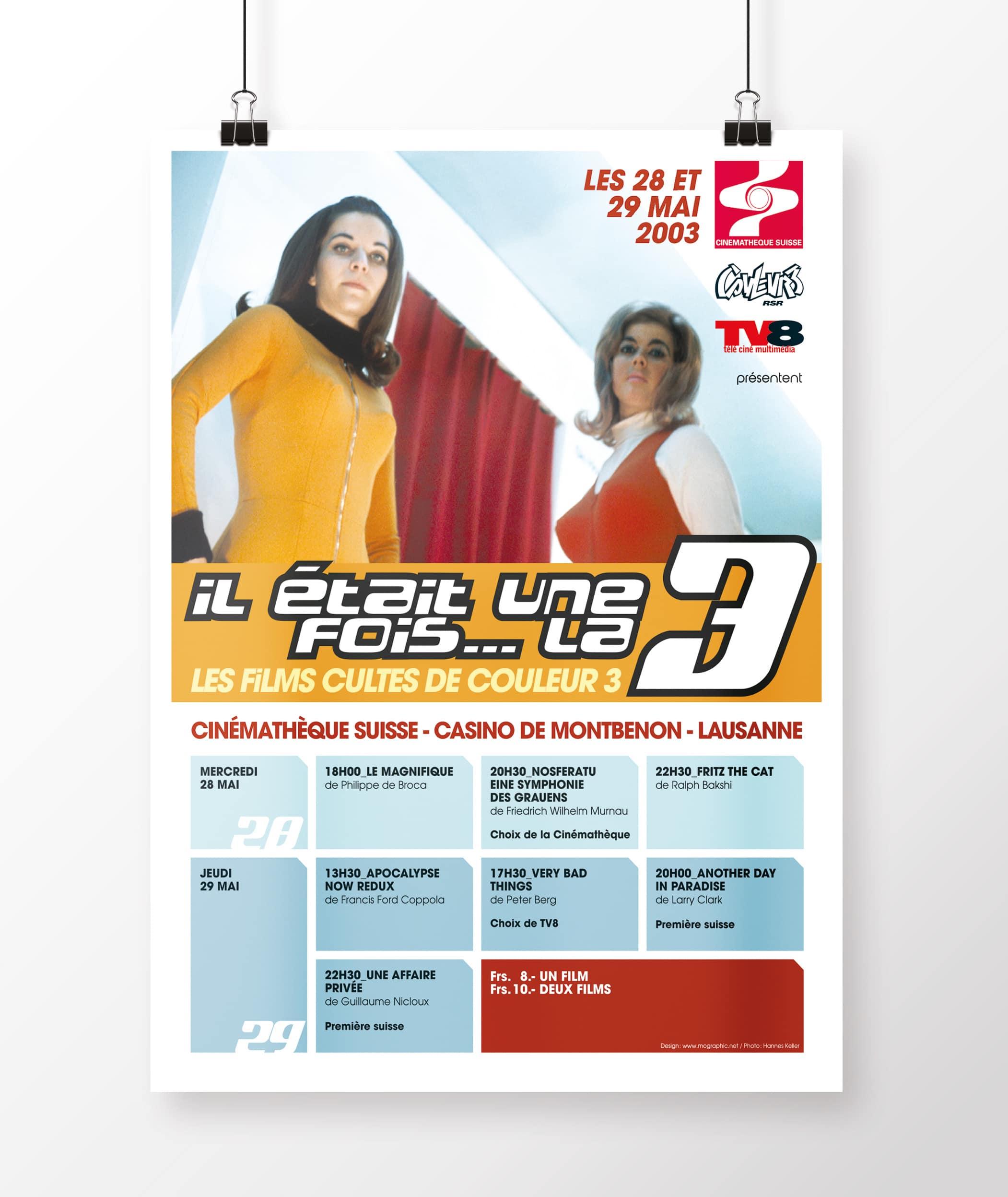 RSR Couleur 3 / Il était une fois la 3 / Festival de films cultes - Haymoz design