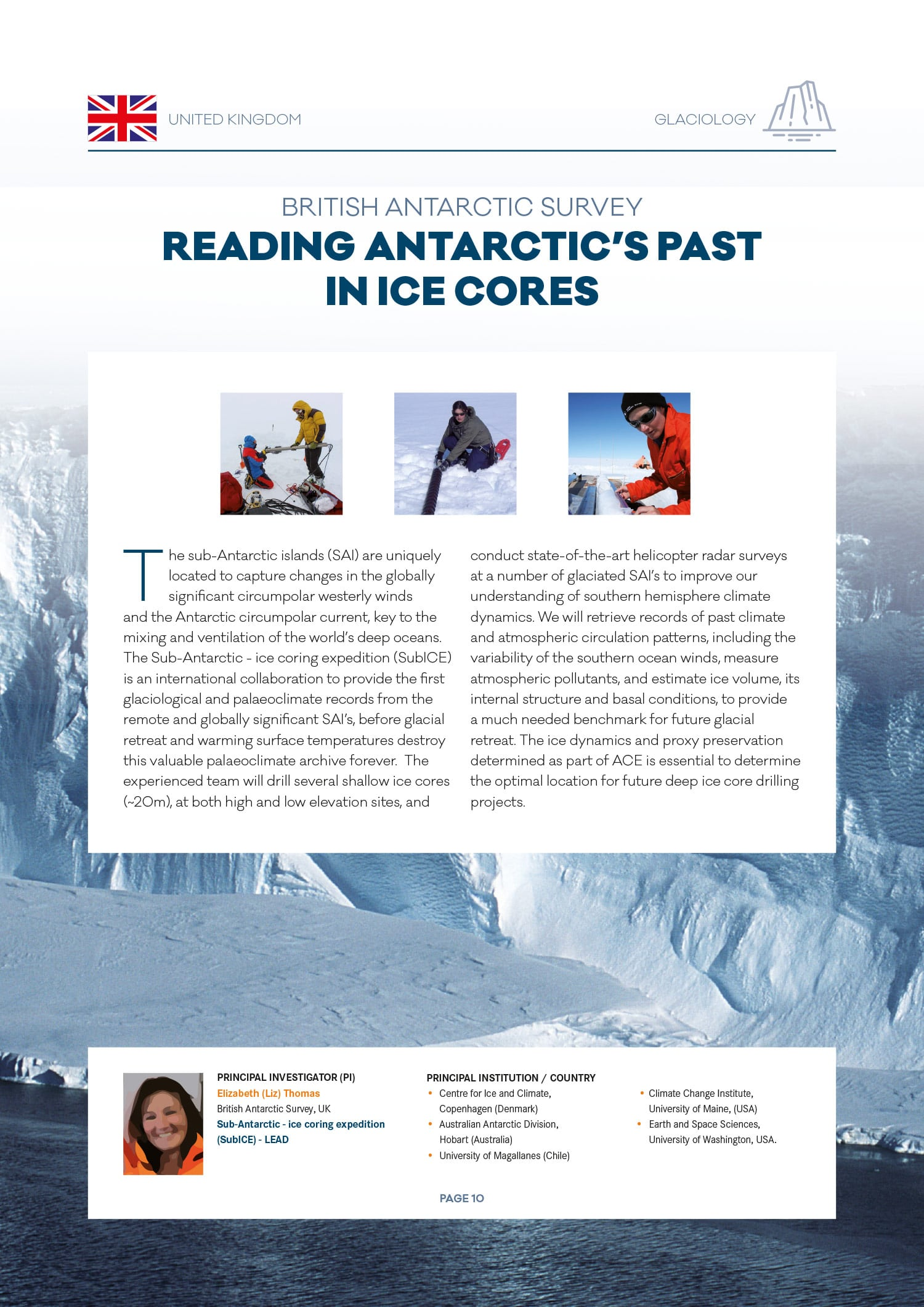 Dossier de presse Antarctic Circumnavigation Expedition (EPFL) glaciology