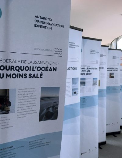Roll-up, exposition de l'Antarctic Circumnavigation Expedition (EPFL) @ Haymoz design, graphiste Lausanne
