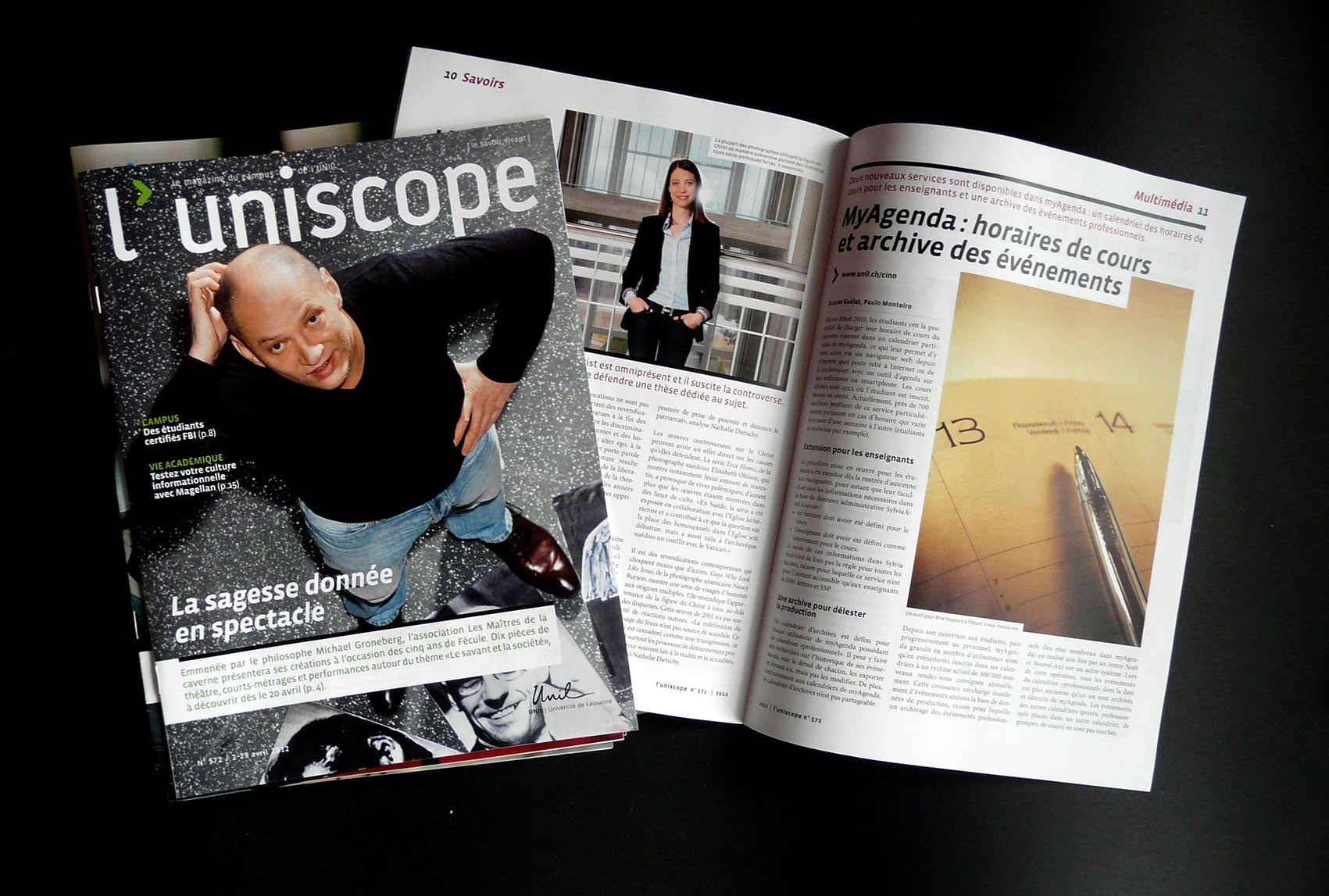 Magazine Uniscope, université de Lausanne, interventions ponctuelles en freelance