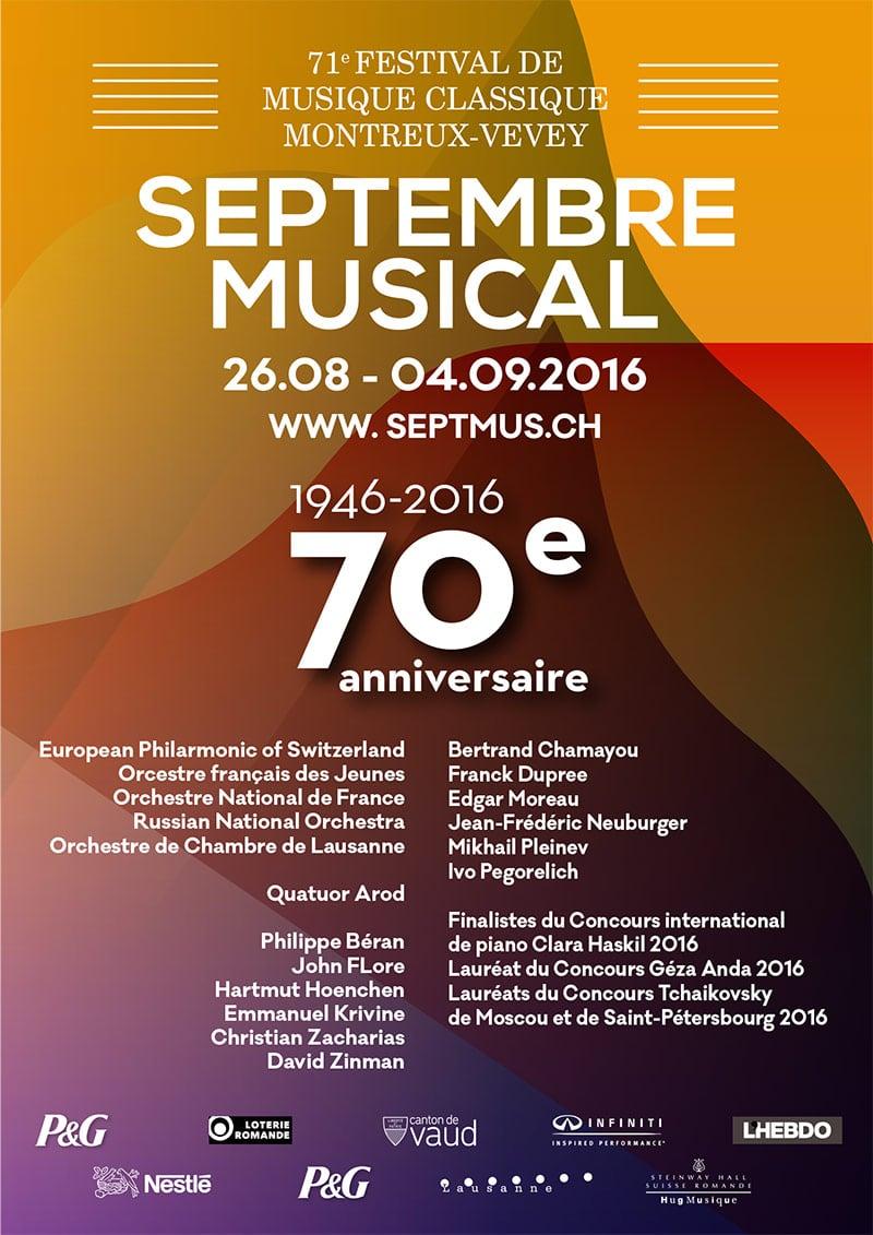 Septembre Musical - Projet 1 - Concours visuel 70 ème anniversaire - Haymoz design