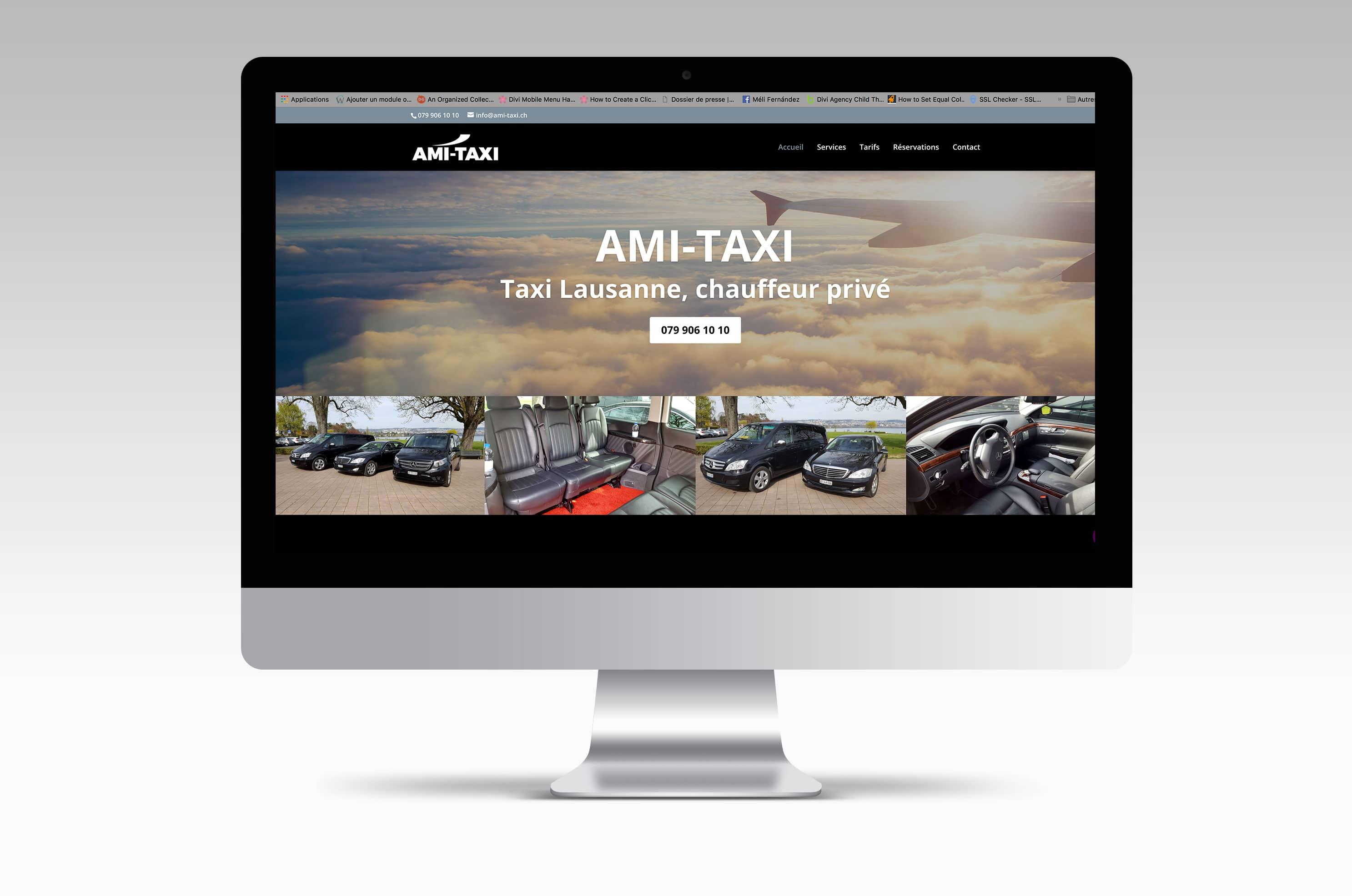 Site internet de Ami-Taxi, service haut de gamme de navettes pour aéroports