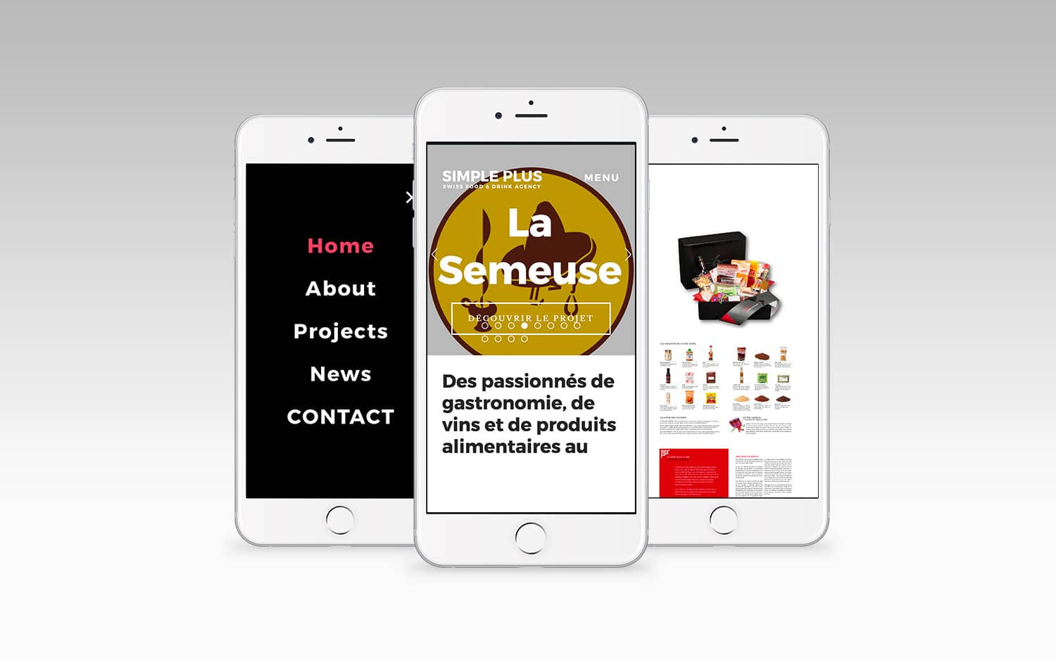 Conception du site internet de Simple plus Agence de communication en gastronomie et vin © Haymoz design, graphiste Lausanne