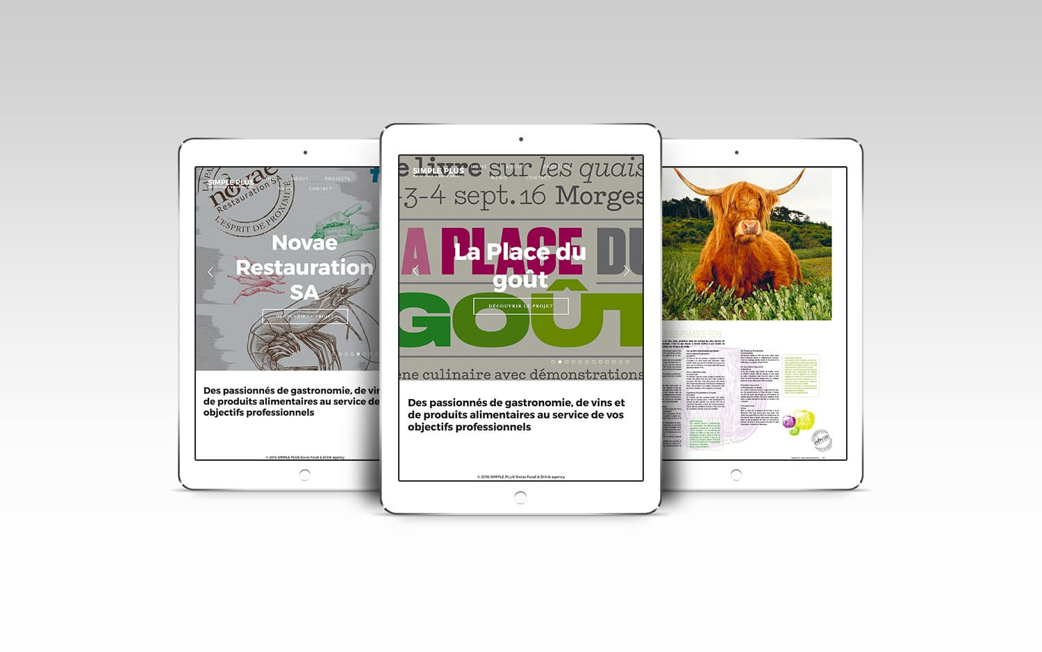 Site de Simple plus Agence de communication en gastronomie et vin sur tablette