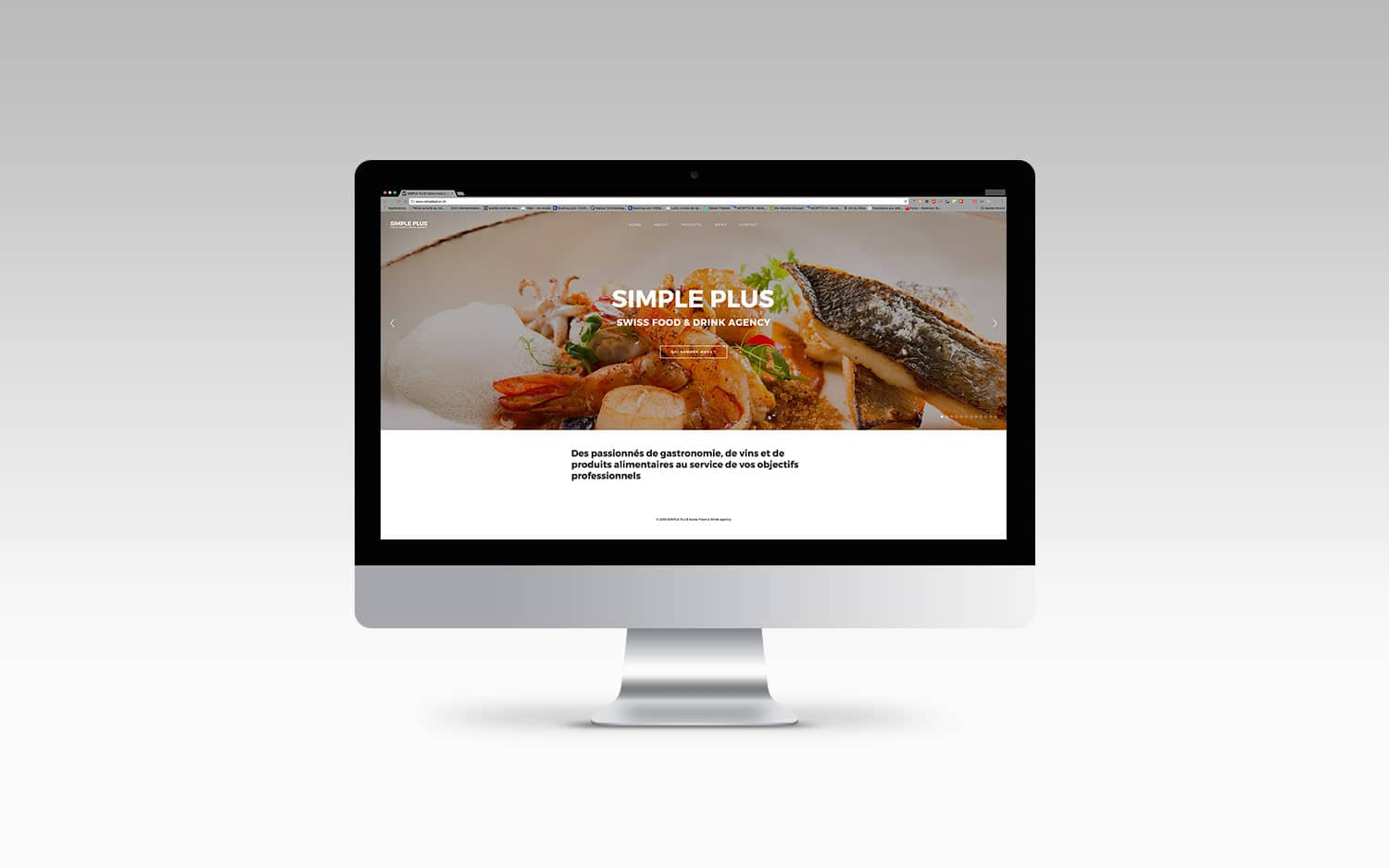 Conception du site internet de Simple plus Agence de communication en gastronomie et vin © Haymoz design, graphiste, Lausanne