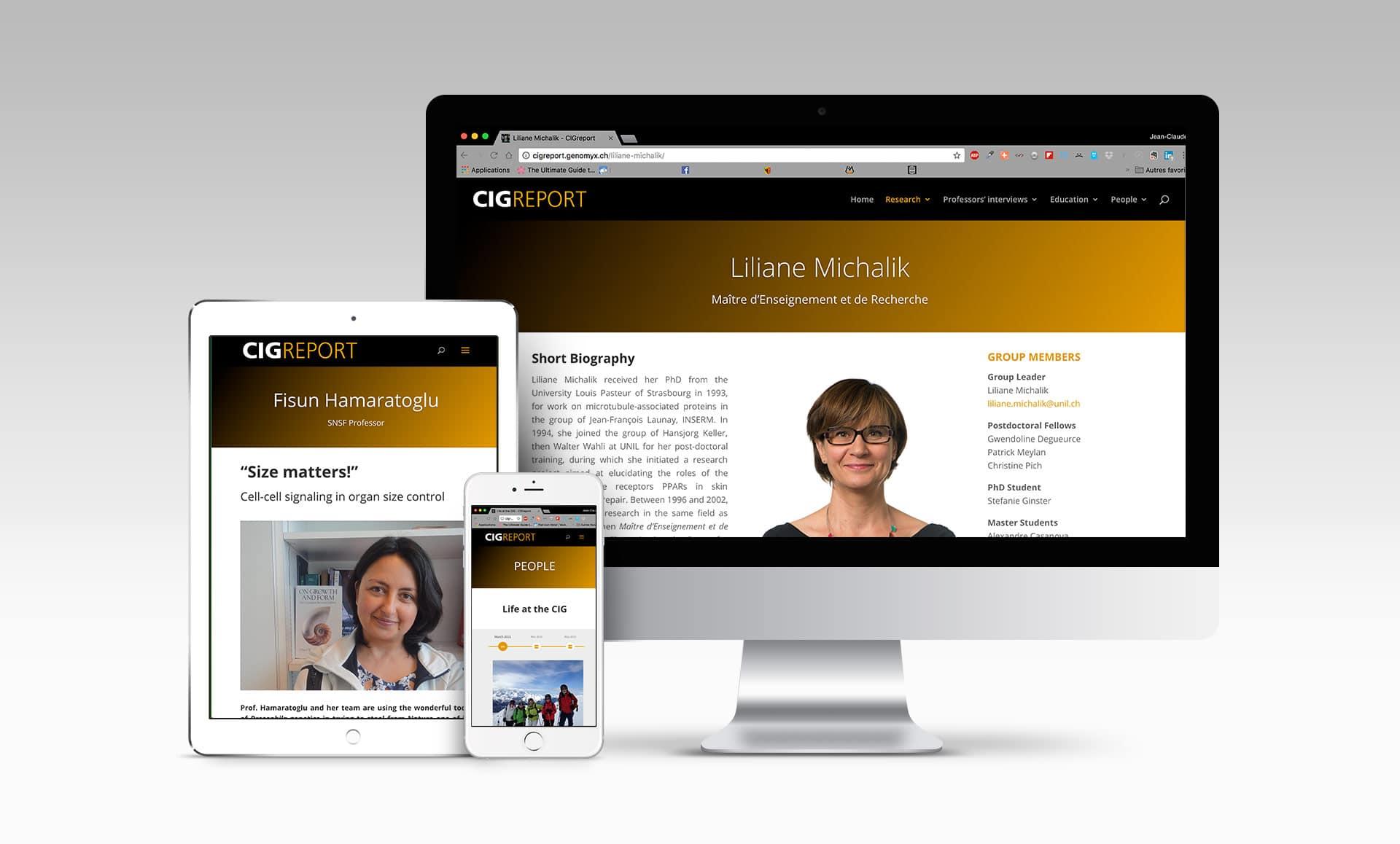 Site internet du Rapport biennal du CIG (Centre intégratif génomique), Lausanne