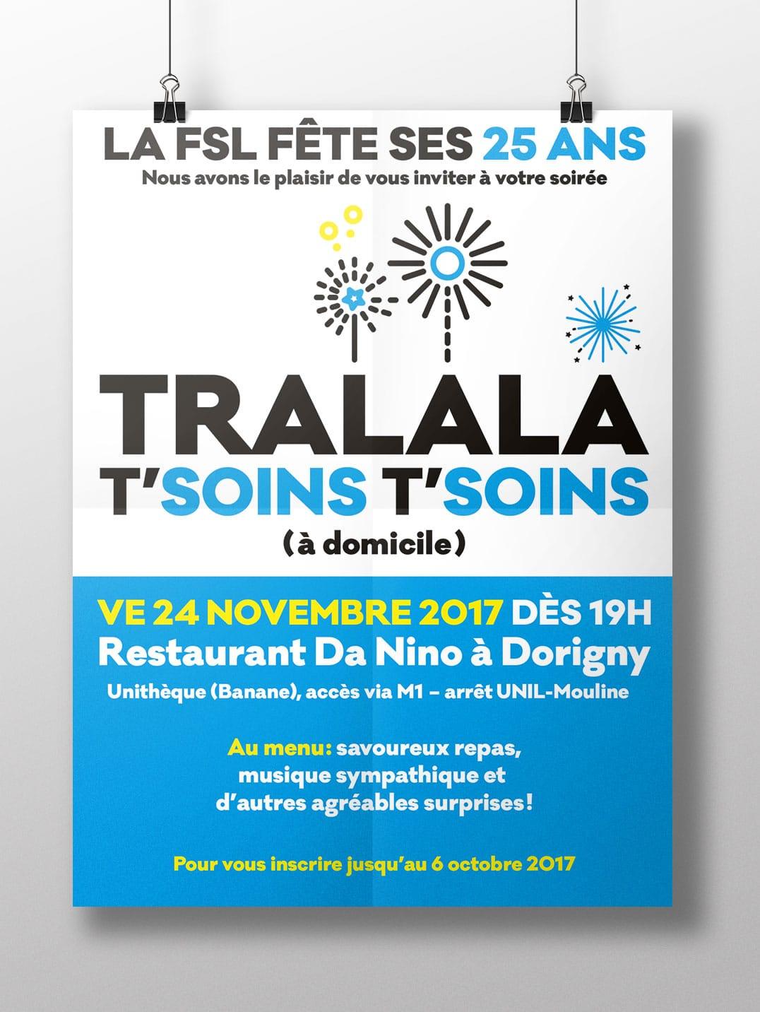Affiche soirée 25 ans Fondation Soins Lausanne - Haymoz design