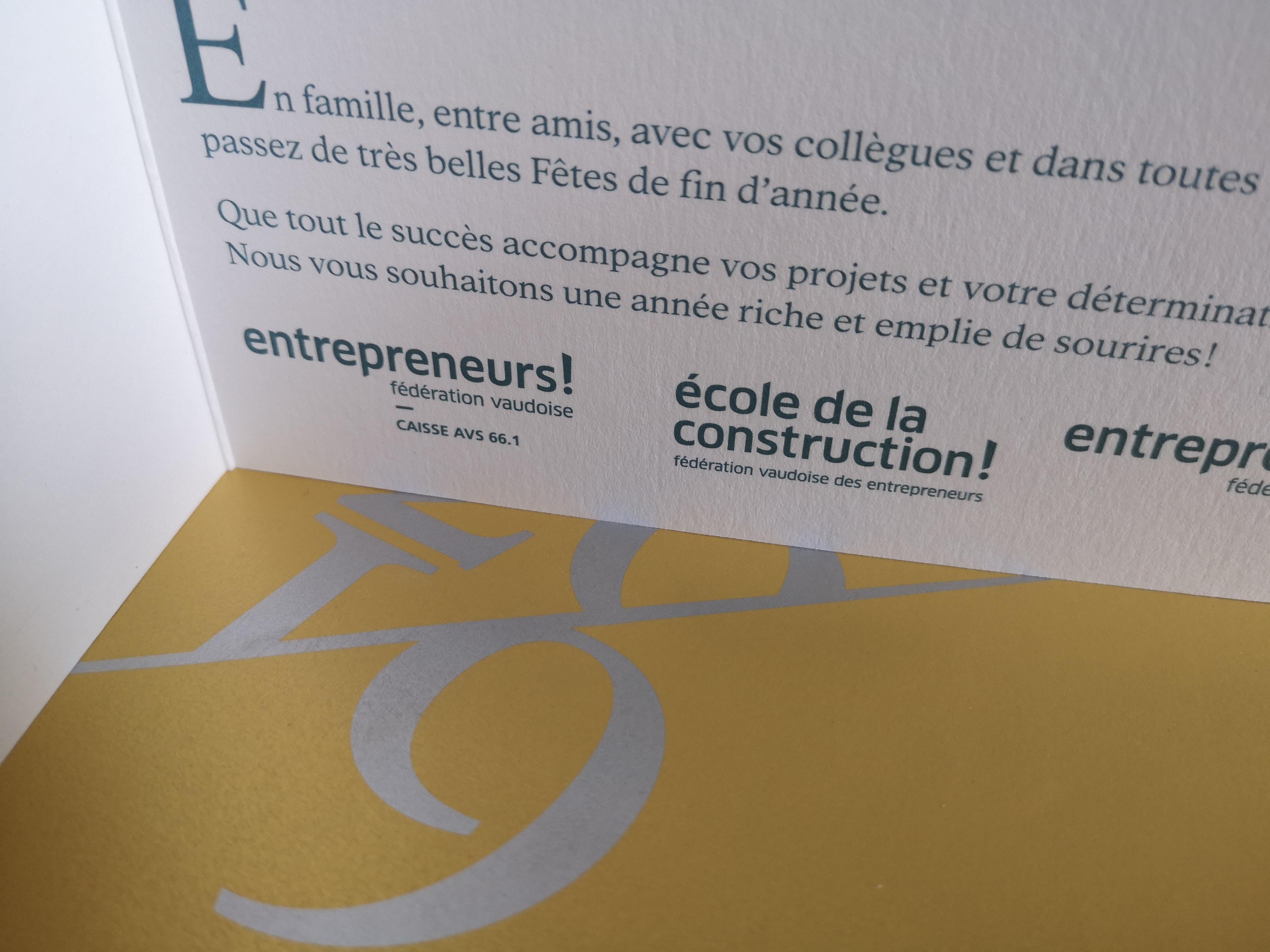 FVE | Fédération vaudoise des entrepreneurs - Carte de voeu