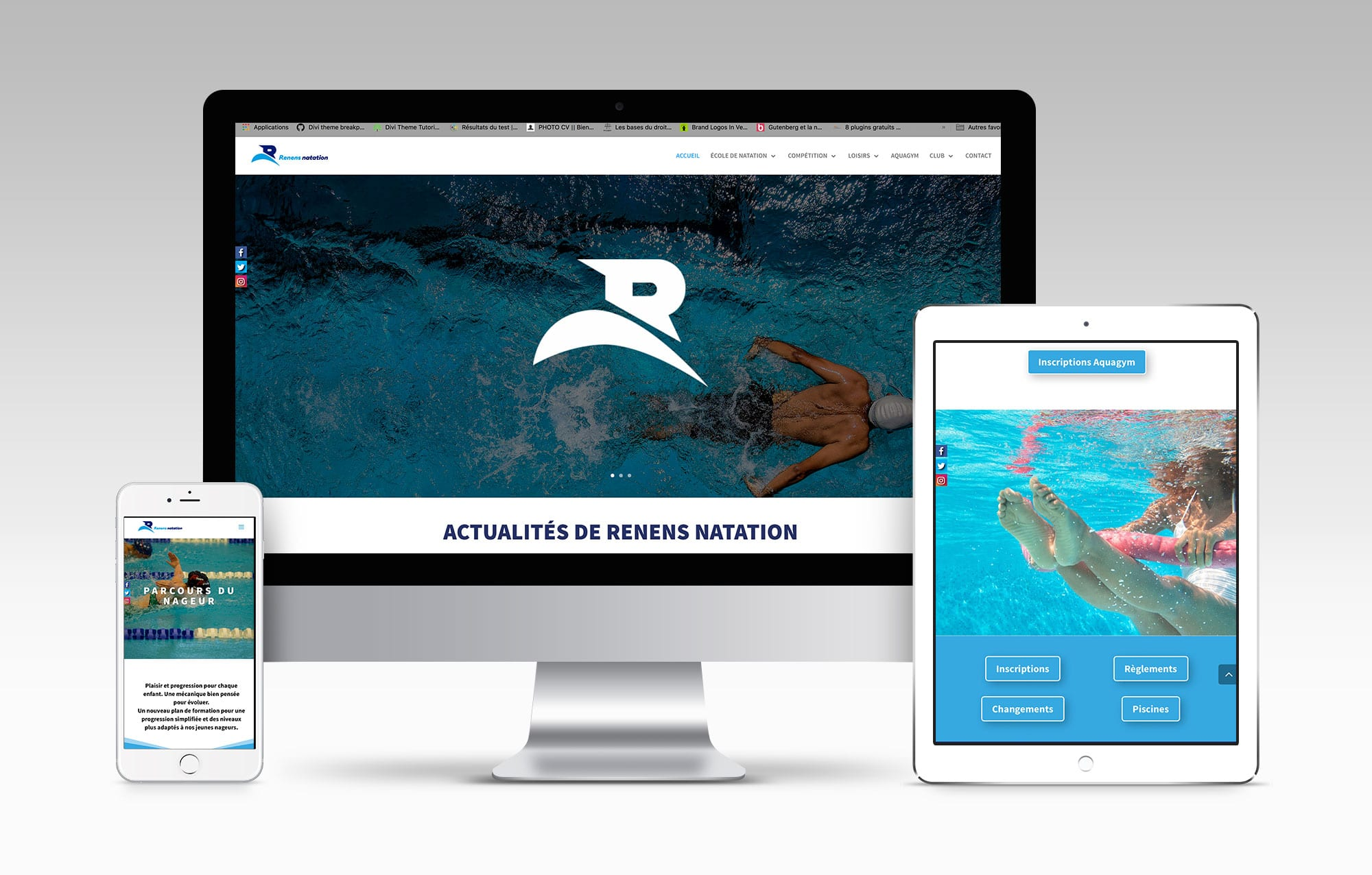 Conception du site internet Renens Natation © Haymoz design, graphiste Lausanne