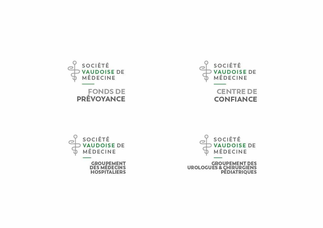 Société Vaudoise de Médecine - Déclinaison de la marque en entités et en groupements