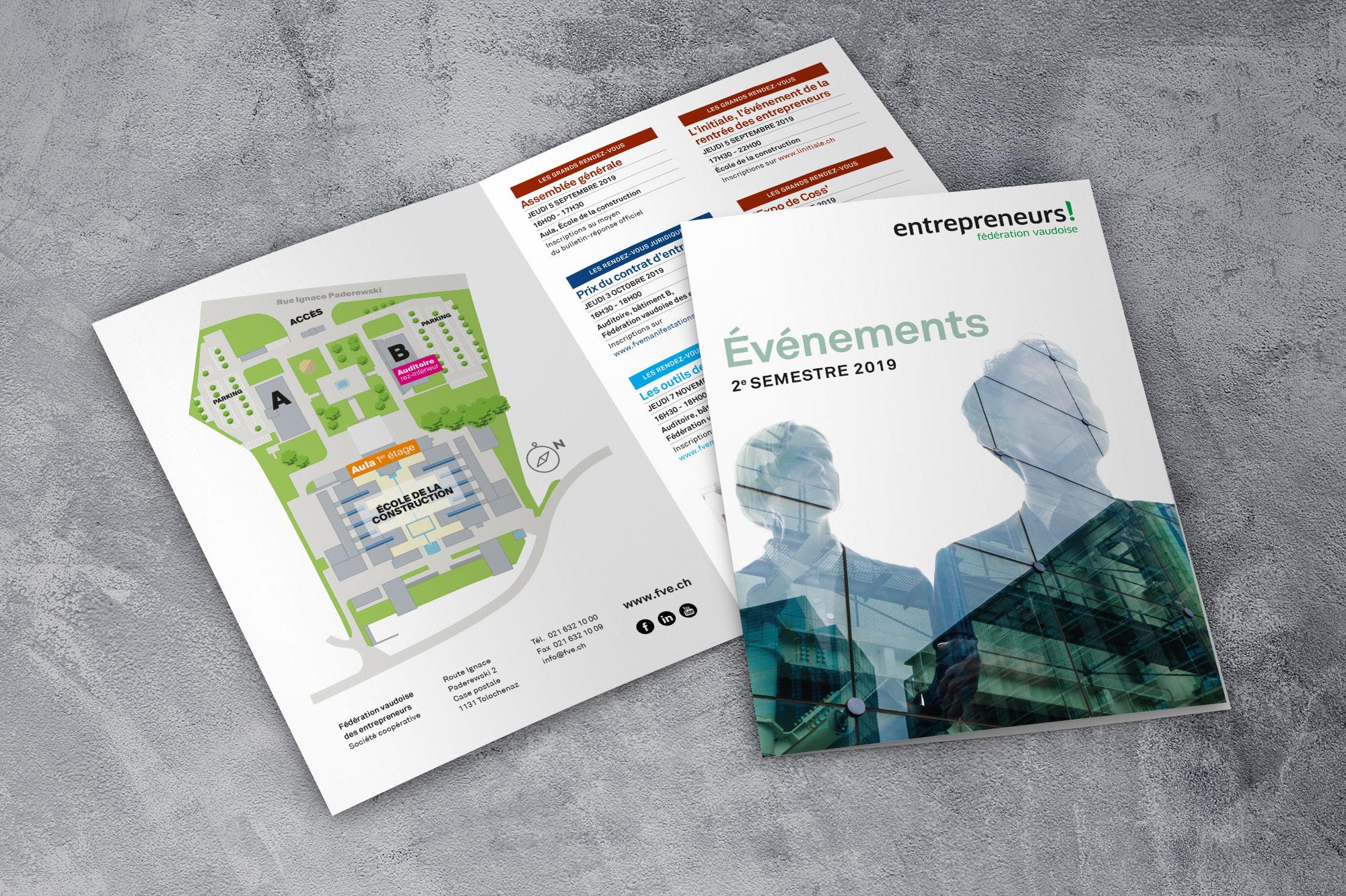Fédération vaudoise des entrepreneurs  - Programme des événements du semestre - Haymoz design