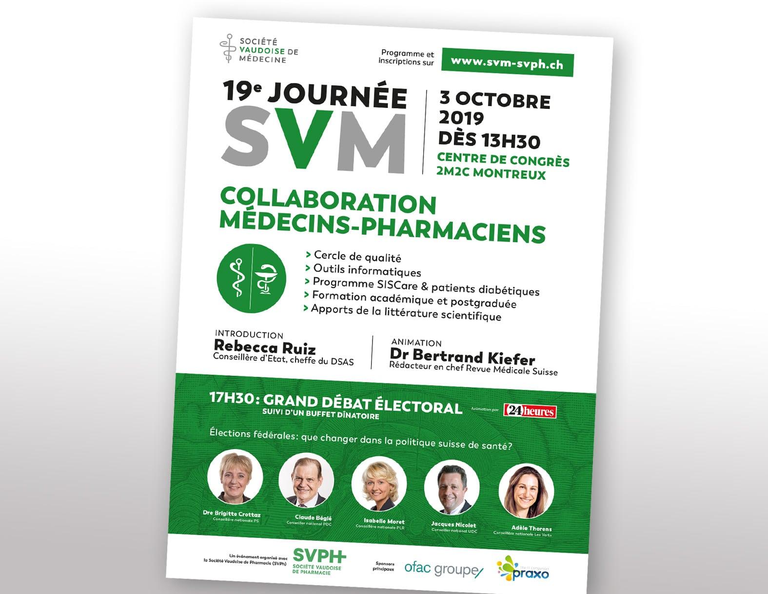 Société Vaudoise des Médecine – Communication de la journée SVM 2019, pour et avec ftc communication - Haymoz design