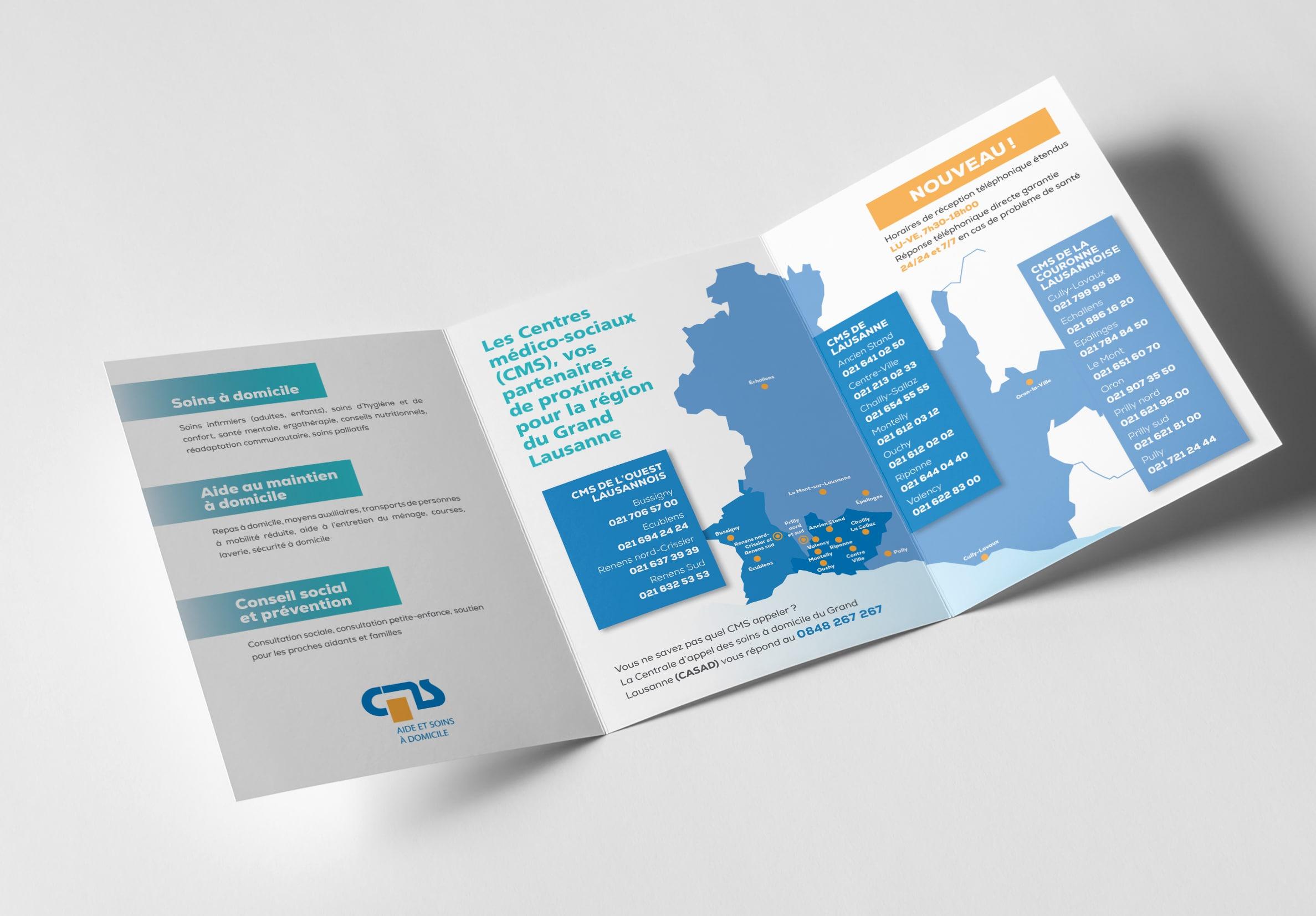 CMS Grand Lausanne, dépliant extension des services en 2020, pour et avec ftc communication - Haymoz design