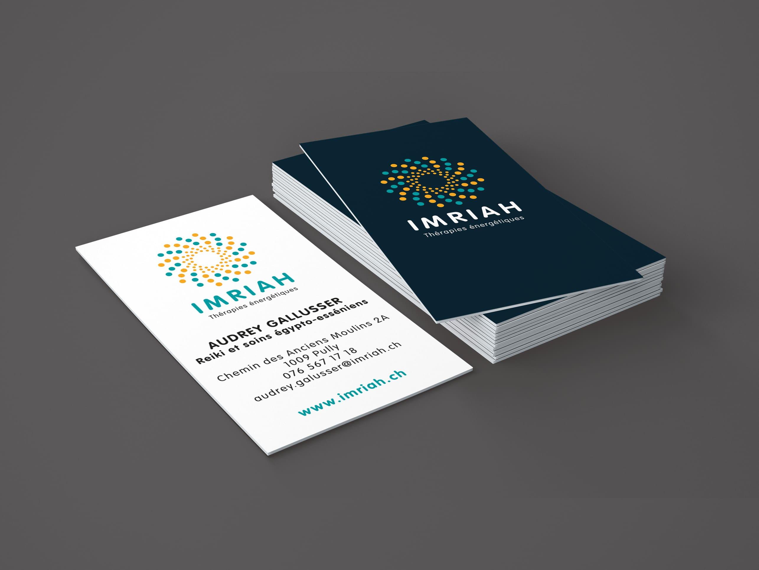 Logo, carte de visite IMRIAH, thérapies énergétiques - Haymoz design