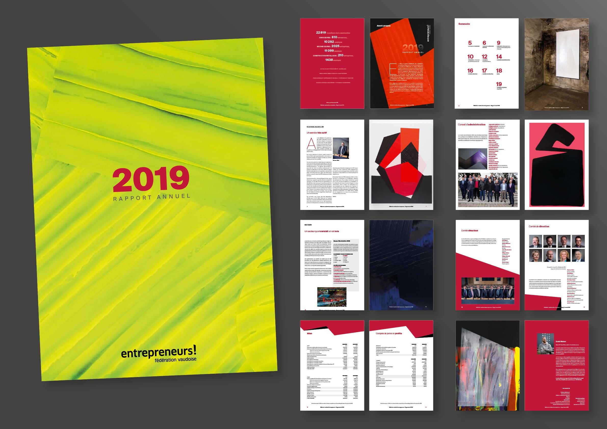 Fédération vaudoise des entrepreneurs - Rapport annuel 2019 @ Haymoz Design, graphiste Lausanne